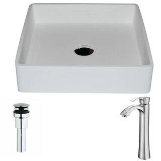 Anzzi Passage 1-piece Man Made Stone Vessel Sink in Matte White with Harmony Faucet in Brushed Nickel