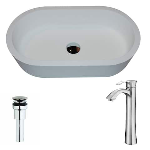 Anzzi Vaine Series 1-piece Man Made Stone Vessel Sink in Matte White with Harmony Faucet in Brushed Nickel