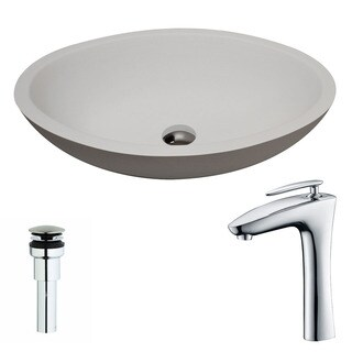 ANZZI Maine 1-Piece Man Made Stone Vessel Sink in Matte White with Crown Faucet in Chrome
