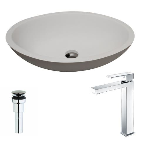 ANZZI Maine Series 1-Piece Man Made Stone Vessel Sink in Matte White with Enti Faucet in Polished Chrome
