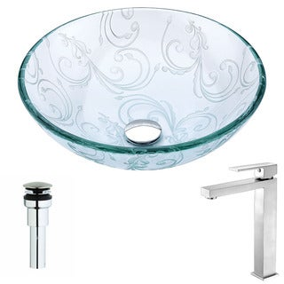 Anzzi Vieno Series Deco-glass Vessel Sink in Crystal Clear Floral with Enti Faucet in Brushed Nickel