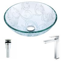 Anzzi Vieno Series Deco-glass Vessel Sink in Crystal Clear Floral with Enti Faucet in Chrome