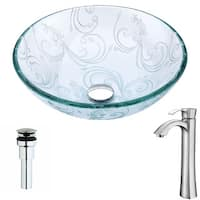 ANZZI Vieno Series Deco-Glass Vessel Sink in Crystal Clear Floral with Harmony Faucet in Brushed Nickel