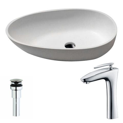 Anzzi Trident 1-piece Man Made Stone Vessel Sink in Matte White with Crown Faucet in Chrome