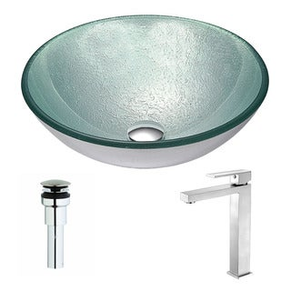 Anzzi Spirito Series Deco-glass Vessel Sink in Churning Silver with Enti Faucet in Brushed Nickel
