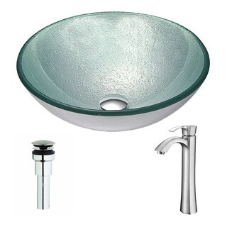 Anzzi Spirito Series Deco-glass Vessel Sink in Churning Silver with Harmony Faucet in Brushed Nickel