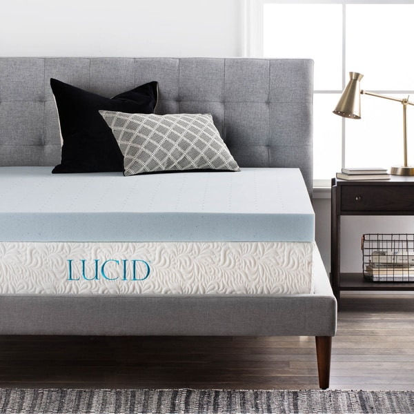 lucid comfort collection 4 inch gel memory foam mattress topper free shipping today. Black Bedroom Furniture Sets. Home Design Ideas