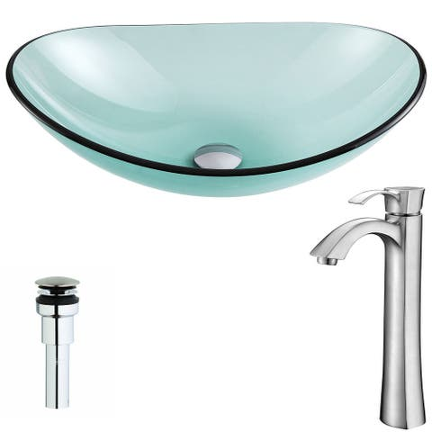 Anzzi Major Series Deco-glass Vessel Sink in Lustrous Green with Harmony Faucet in Brushed Nickel