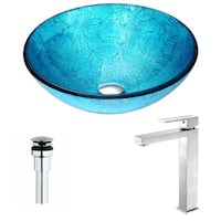 Anzzi Accent Series Deco-glass Vessel Sink in Emerald Ice with Enti Faucet in Brushed Nickel