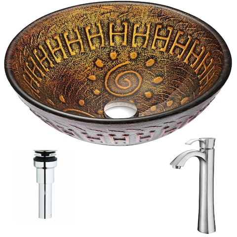 Anzzi Opus Series Deco-glass Vessel Sink in Lustrous Brown with Harmony Faucet in Brushed Nickel