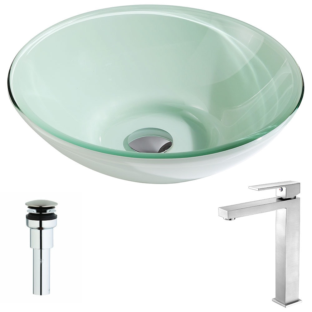 ANZZI Sonata Series Lustrous Light Green Deco-Glass Vessel Sink with Enti Brushed Nickel Faucet (Lustrous Light Green Finish)