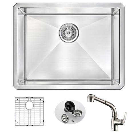 ANZZI Vanguard Undermount Stainless Steel 23-inch Single Bowl Kitchen Sink and Faucet Set
