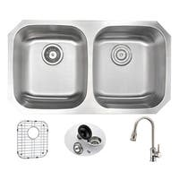 ANZZI Moore Undermount Stainless Steel 32-inch Double Bowl Kitchen Sink and Sails Brushed Nickel Faucet Set