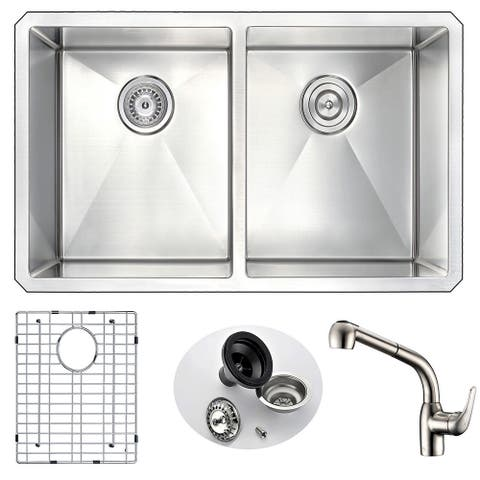 ANZZI Vanguard Undermount Stainless Steel 32-inch Double Bowl Kitchen Sink and Faucet Set