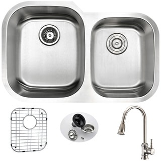 Anzzi Moore Stainless Steel and Brushed Nickel Sails Faucet 32-inch Undermount Double-bowl Kitchen Sink