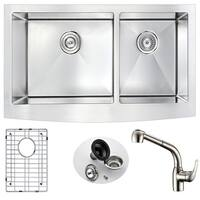 ANZZI Elysian Farmhouse Stainless Steel 36 in. Double Bowl Kitchen Sink with Brushed Nickel Harbour Faucet
