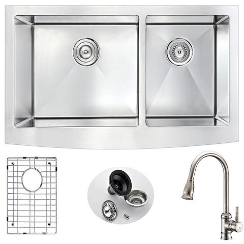 """ANZZI Elysian 36"""" Farmhouse Double-bowl Kitchen Sink with Nickel Sails Faucet"""