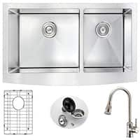 Anzzi Elysian Silvertone Stainless Steel Farmhouse Double-bowl Kitchen Sink and Faucet Set