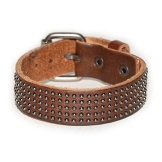 Handmade Silvertone Belt Buckle Brown Strap Genuine Leather Bracelet (Thailand)