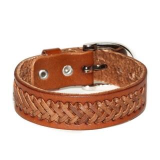 Handmade Belt Buckle Tan Braided Genuine Leather Bracelet (Thailand)