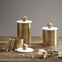 Madison Park Kayden Brass Canister with Small Marble Top