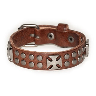 Handmade Belt Buckle Pattee Cross Brown Genuine Leather Bracelet (Thailand)