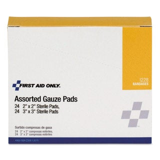 First Aid Only Gauze Pads, 2 x 2; 3 x 3, 48/Box