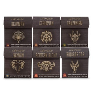 Cafe Viante Arican Collection Variety Pack. Espresso Capsules For Nespresso - 60 Count