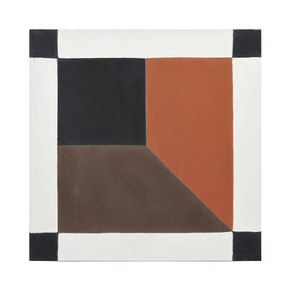 Shafshawn Orange and Black handmade cement Moroccan tile, 8 Inch X 8 inch floor and wall tile (pack of 12)