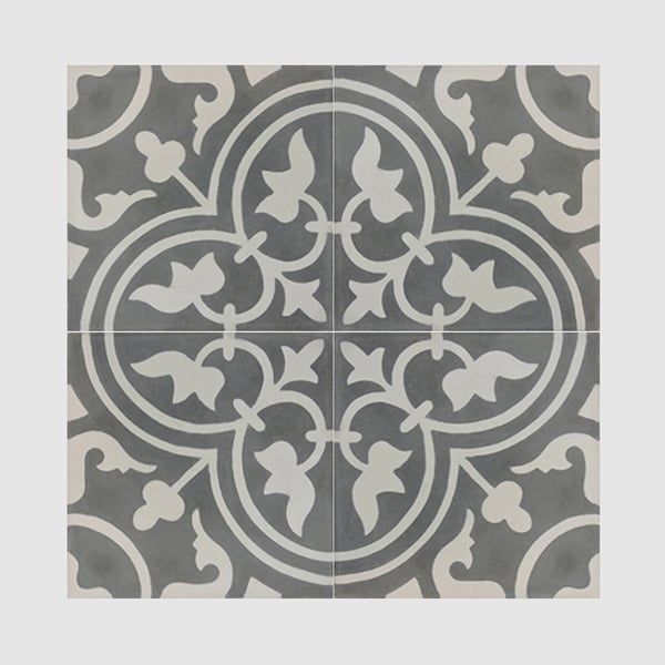 Casa Grey And White Handmade Cement Moroccan Tile 8 Inch