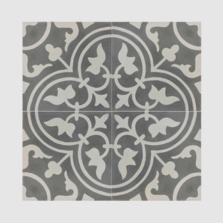 Casa Grey and White handmade cement Moroccan tile, 8 Inch X 8 inch floor and wall tile (pack of 12)
