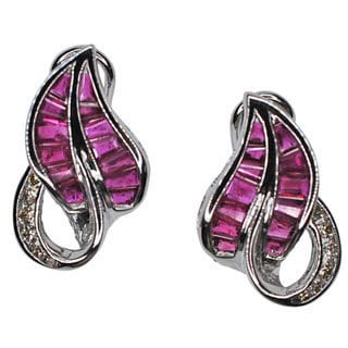 Kabella 14k White Gold Ruby with 1/5ct TDW Diamond Earrings (G-H, SI1-SI2)