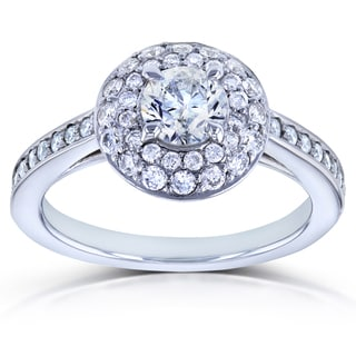 Annello by Kobelli 14k White Gold 1ct TDW Diamond Dome Double Halo Engagement Ring