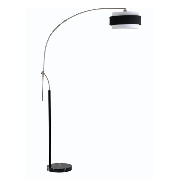 Santa Monica Black and White Brushed Steel 150-watt Floor Lamp