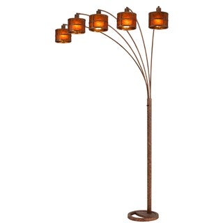 Oxidized Metal Mica Shade 5 Arm Arc Floor Lamp