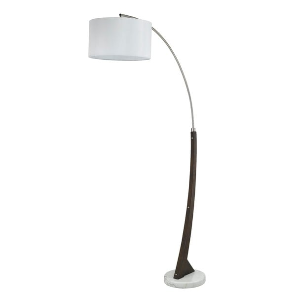 Brushed Steel and Marble Base 150-watt Arc Floor Lamp