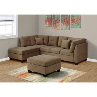 Sectional Sofa in Ultra-Soft Light Brown Velvet