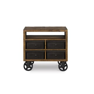 Magnussen Home Furnishings Braxton Distressed Natural Acacia 4-drawer Nightstand With Casters