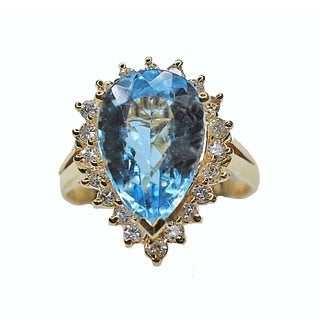Kabella 14kt Marquis Shaped Blue Topaz and Diamond Ring