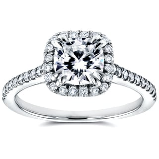 Annello 14k White Gold Forever One Cushion Moissanite and 1/3ct TDW Diamond Halo Cathedral Engagement Ring (G-H, I1-I2)