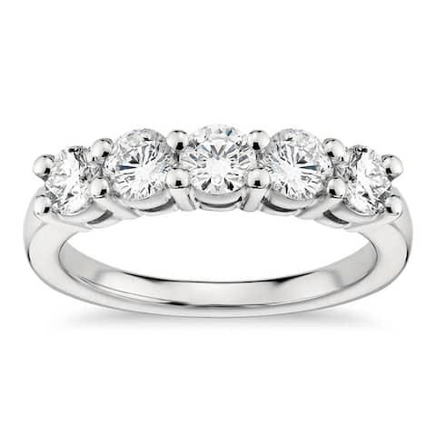Platinum 1.00 CT Classic Shared Prong Five Stone Diamond Wedding Ring (G-H, SI1-SI2)