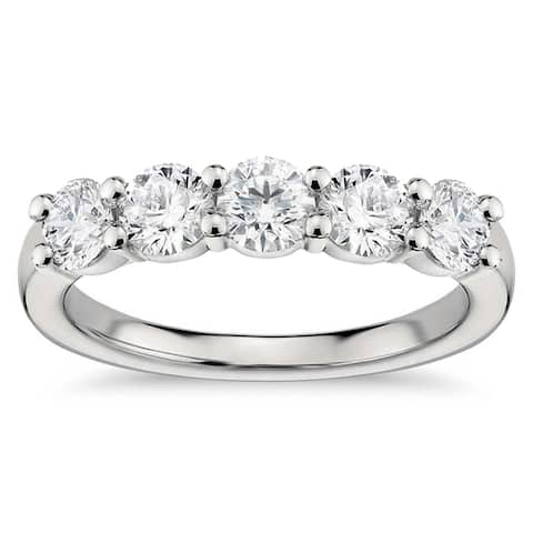 Platinum 1ct TDW White Diamond Shared Prong Five Stone Wedding Ring (G-H, SI1-SI2)