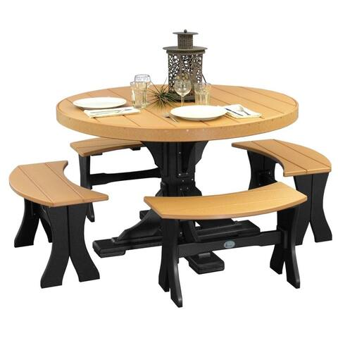 Outdoor 4' Round Table and 4 Benches