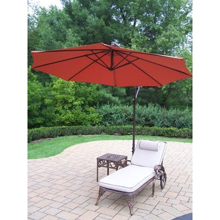 Dakota Lounge Set with Chaise Lounge, Side Table, and Orange Cantilever Umbrella