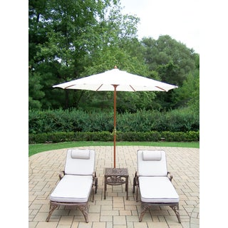 Dakota Lounge Set with 2 Cushioned & Wheeled Chaise Lounges, Side Table and White Wooden Umbrella with Stand