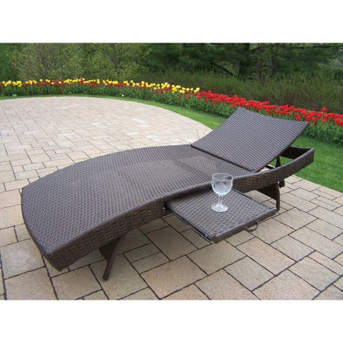 Oakland Living Corporation Merit Resin Wicker Foldable Chaise Lounge