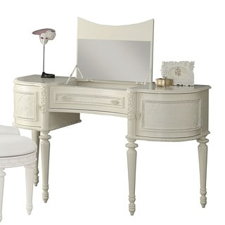 Acme Furniture Dorothy Ivory Vanity Desk with Mirror