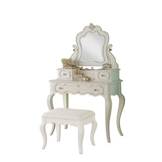 Acme Furniture Edalene Pearl White Vanity Desk with Mirror
