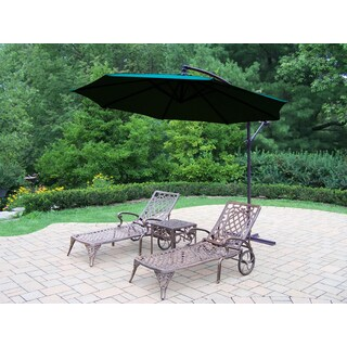 Dakota Cast Aluminum Lounge Set with 2 Chaise Lounges, a Square Side Table, and a Green Umbrella with Base