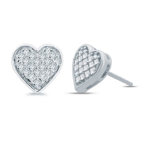 Cali Trove 1/3ct TDW Diamond Heart Composite Earring In Sterling Silver